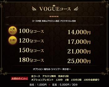 赤坂見附VOGUEの料金