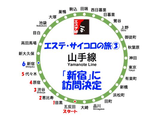 エステ・サイコロの旅 山手線編(1) 五反田⇒新宿
